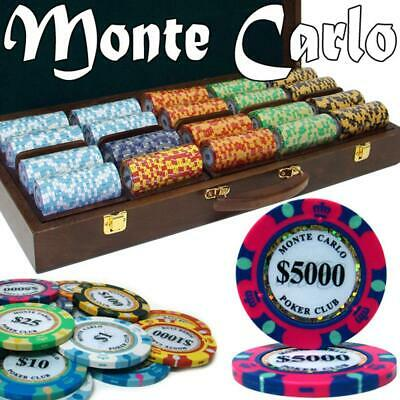 BryBelly Poker Supplies Pre-Pack 500 Ct Monte Carlo Chip Set Walnut Wooden Case