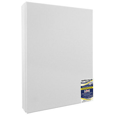 16 x 20 inch Super Value Quality Acid Free 12-Ounce Stretched Canvas 5-Pack