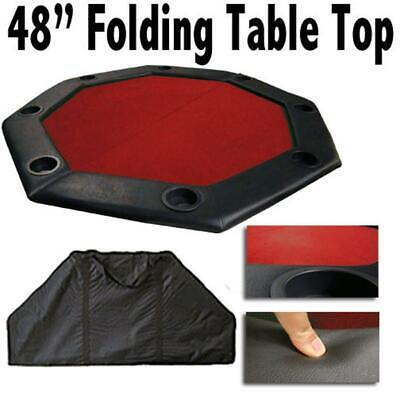 "BryBelly Poker Supplies 48"" Red Felt Octagon Folding Table Top w/ Padded Rail"