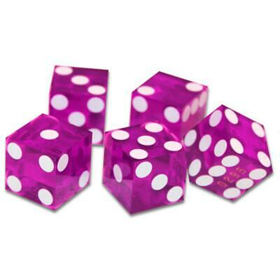 BryBelly Poker Supplies (5) New Violet 19mm Precision Dice w/Matching Serial #s