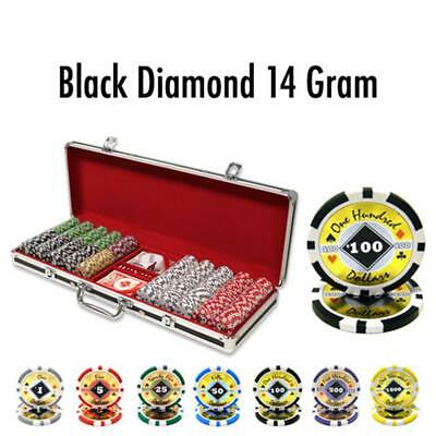 BryBelly Poker & Casino Supplies 500 Ct Custom Black Diamond 14 G Black Alumium