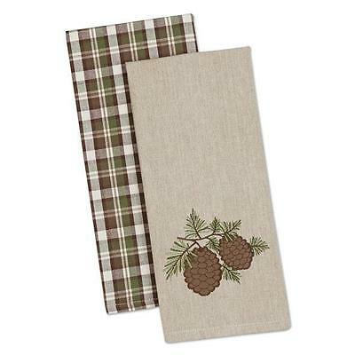 (2) Pine Sprig Woven Cotton Kitchen Towels Country Cottage Decor