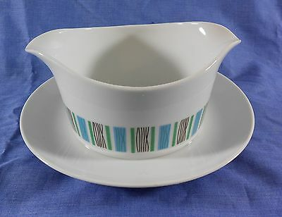 Vintage Harmony House Scandia 3907 Japan Gravy Dish Boat w Attached Underplate
