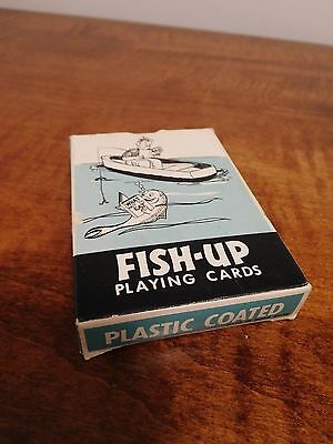 Vintage Fish Up Cartoon Fishing Playing Cards, Poker Size, 1950s