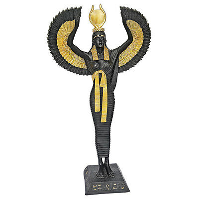 Winged Isis Goddess Queen of Egypt Ebony Gold Empress Statue Cleopatra Egyptian