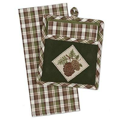 (1) Pinecone Embroidered Cotton Quilted Potholder/Towel Set Kitchen Cabin Decor
