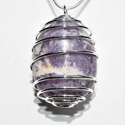 "Soothing Peruvian Lepidolite Crystal Perfect Pendant™ + 20"" Chain Anti-EMF"