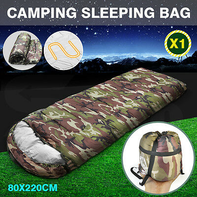 -10° Degree Thermal Single Outdoor Camping Sleeping Bag Envelope Mat Tent Hiking