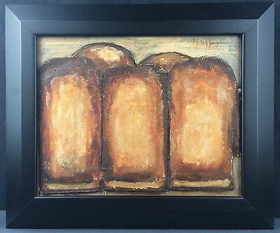 Painting Kitchen Wall Art Original Acrylic Bread Food 11x14 Brown 3-D Relief