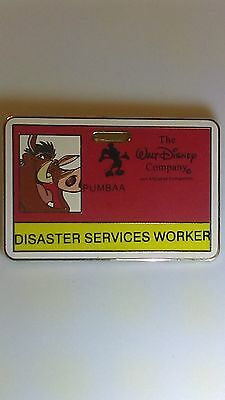 Disney ID Badge Disaster Services Worker Pumbaa From The Lion King Pin LE 300