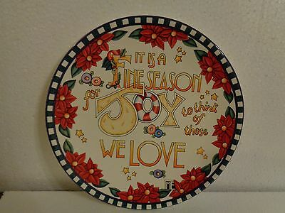 Mary Engelbreit Xmas Plate It's a Fine Season For Joy To Think Of Those We Love