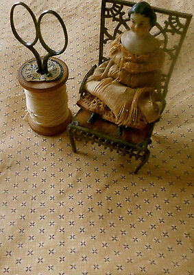 Antique 19thc Early Calico Cotton Fabric ~  Tan Wheat Small Scale ~ dolls quilts