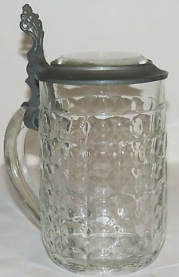 Antique German Stone Cut Glass Beer Stein w/Flat Glass Pewter Lid
