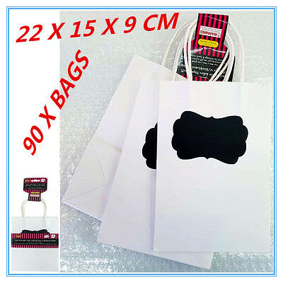 90 X Small White Paper Kraft Gift Party Bags With Handles& Blackboard Stickers A
