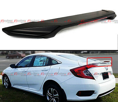 For 2016-2017 Honda Civic X 10Th Gen Fc Jdm Rear Trunk Spoiler Wing W/ Led Brake