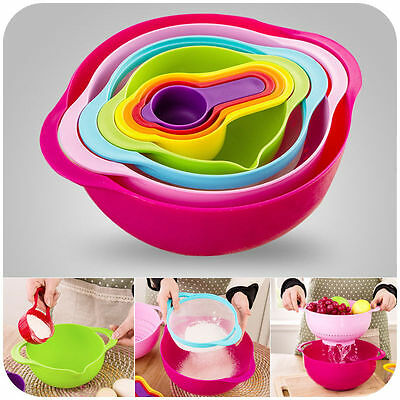 New 8 Pieces Colorful Mixing Bowl & Plastic Measuring Cup Set Kitchen Gadgets