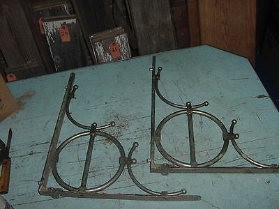 ANTIQUE STAINLESS STEEL SINK SHELF BRACKETS 18 1/4 x 16 1/2 LOT OF 2 RARE
