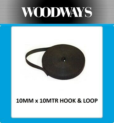 10mm Hook and Loop 10 metre Double Sided 10m Heavy Duty Black cable wrap strap
