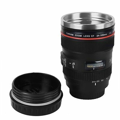 Camera Lens Cup 24-105 Coffee Tea Travel Mug ABS Stainless Steel Thermos New
