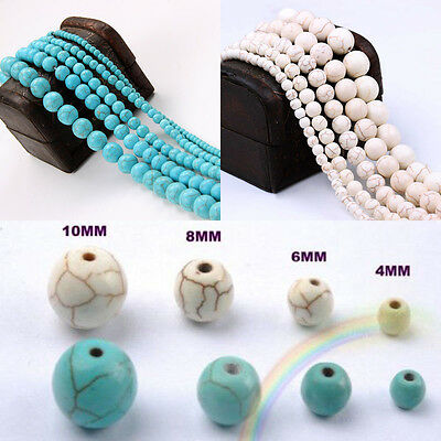 Lots 100Pcs Howlite Turquoise Gemstone Round Loose Beads Jewelry 4 6 8 10 12 mm