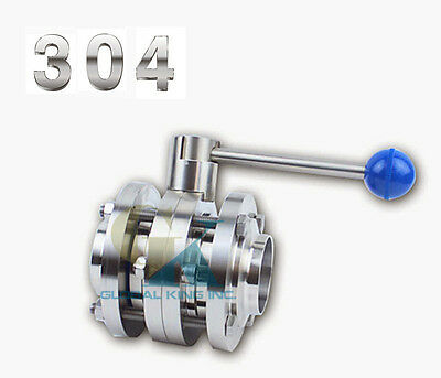 """1PC 2"""" Sanitary Φ51 Stainless 304 Tri-Clamp Three-piece Type Butterfly Valve"""