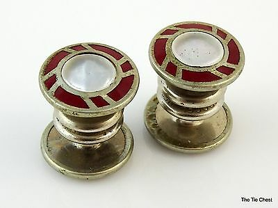 Vintage 1920s Cufflinks Parkroger Jiffy Red and Mother-of-Pearl