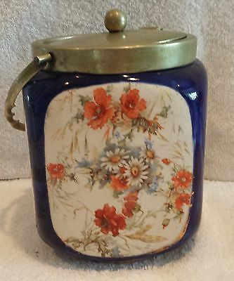 Antique William Wood & Co cobalt blue biscuit container
