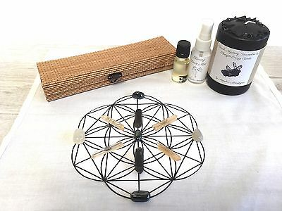 Crystal Grid Cloth, Banish Negativity and Grounding, Candle, Mist, &Oil