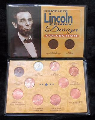 Complete Lincoln Penny Design Collection * 12 One Cent Coins * 4 Wheat Backs