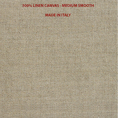 "100% LINEN CANVAS by the yard, 54"" wide, medium smooth - 210 gr/m2 Made in ITALY"