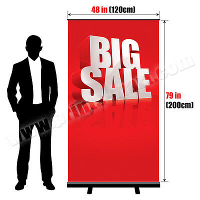 "48"" Premium Black Roll Up Banner Stand Trade Show Pop Up Display + FREE Printing"