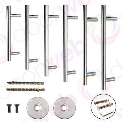 Guardsman LARGE DOOR PULL HANDLE Bar Rose Cover Fixing Bolt Stainless Steel 25mm