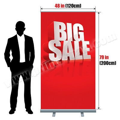 "48""x79"" Retractable Roll Up Banner Stand Trade Show Pop Up Display Free Printing"