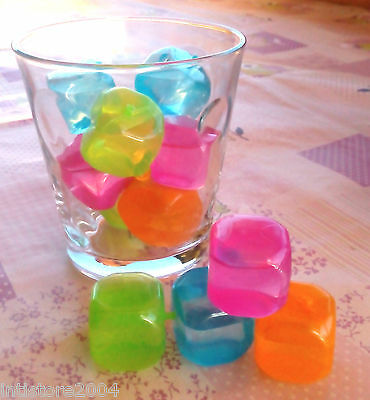 15 CUBETTI GHIACCIO sintetico RIUTILIZZABILI colorati feste cocktail party drink