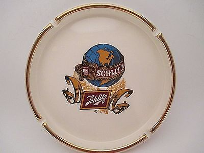 Vintage Cigarette Ashtray Schlitz Beer Breweriana Tobacciana Ceramic Collectible