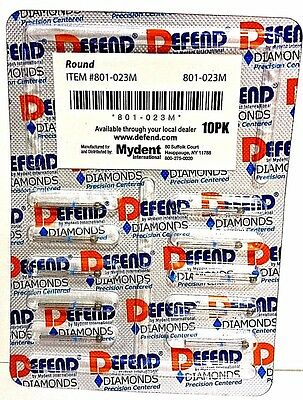Diamond Burs Round #801-023M Medium Blue 10/pk Bur Defend