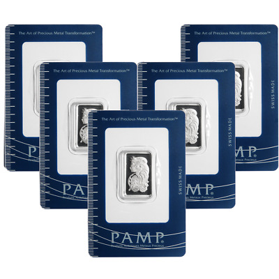 Lot of 5 - 10 Gram Pamp Suisse .9995 Fine Platinum Bar Fortuna