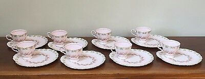 Royal Tuscan PINK FLORAL Footed Cup & Snack Plate ~ Set of 8  England