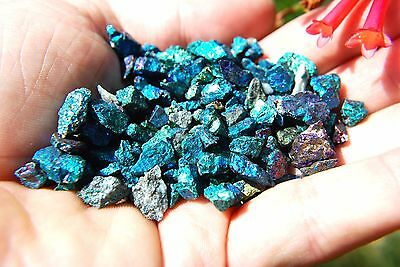 100 PCS AAA Grade CHARGED 500cts [TINY] BABY PEACOCK™ ORE Chalcopyrite Crystals