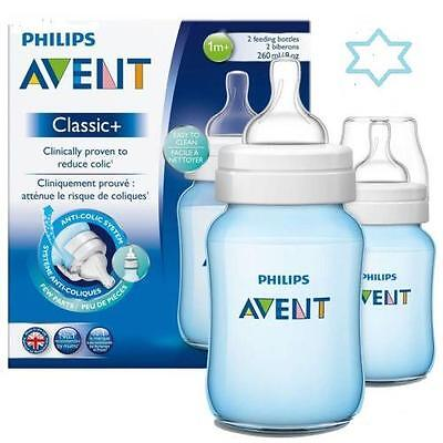 New Philips Avent Baby Feeding Bottles 2X260Ml Classic Blue Coloured Anti-Colic