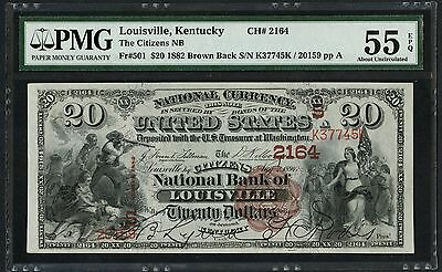 Fr501 $20 1882 Brown Back Louisville, Ky Pmg 55 Epq About Unc 24 Exist Wlm1729