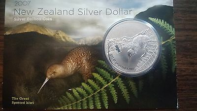2007 New Zealand UNC The Great Spotted Kiwi 1 Oz Silver *Low Mintage*