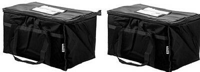 Insulated Nylon Food Delivery Bags Hot Cold Carrier Restaurant Black Set of Two