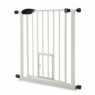 Pet Barrier Gate w/ Cat Door Baby Metal Security Safety Gate Extendable 80-90cm