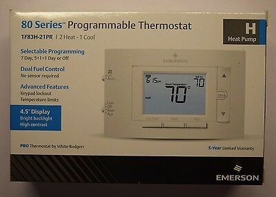 "Emerson 80 Series Programmable Thermostat 4.5"" Display 2 Hot 1 Cool 7 Day 5+1+1"