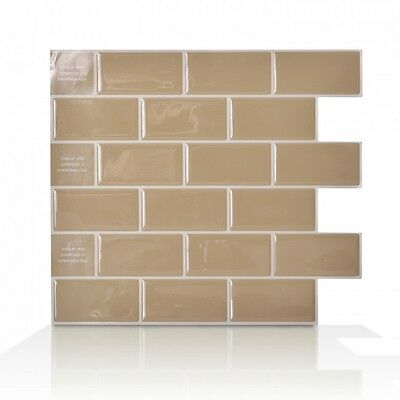 Smart Tiles SM1022-6 SELF-ADHESIVE WALL TILES 6/SHEET SUBWAY SAND MEDIUM BEIGE