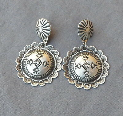 New Navajo USA Made Vincent Platero Post Dangle Stamped Round Concho Earrings