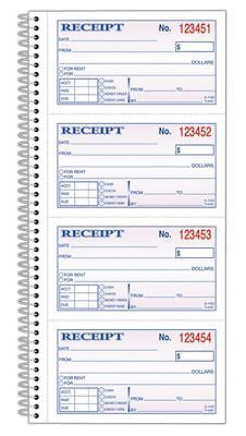 "Adams Money/Rent Receipt Book, Spiral, Dup, 2-3/4""x5-1/4"", 200-Sht, BK"