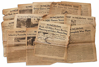 WWII 22 ''Stars and Stripes'' Newspapers Liege Early 1945