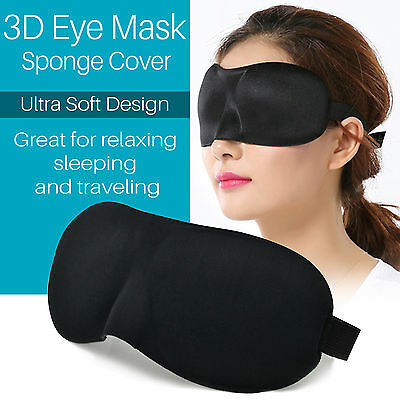 NEW 3D Eye Mask Sponge Cover Blindfold Travel Sleep Rest Shade Blinder Aid UK